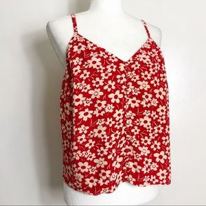 Madewell Red Floral Front Button Tank